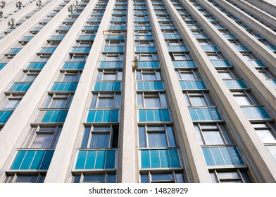 tall office building wall, wide angle shot