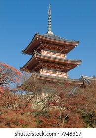 Tall pagoda tower of Kiyomizu Temple in Kyoto Japan. Kiyomizu-dera is UNESCO World Heritage listed.