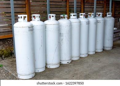 Tall Propane Tanks in a Row