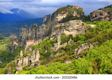 Tall rocks and holly monasteries of Meteora, Greece