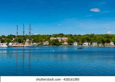 Tall sailship at Mystic Seaport, Connecticut, New England, USA.