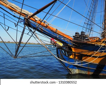 Tall Ship Bow Rigging and Figurehead