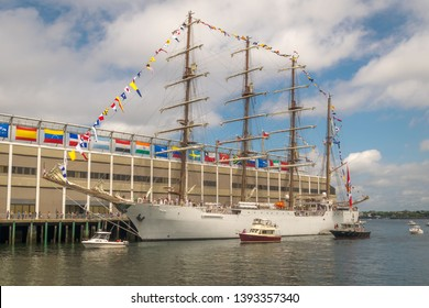 A tall ship docked in Boston's seaport