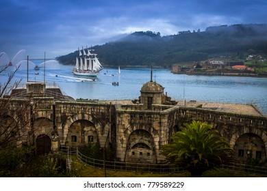 Tall Ship Juan Sebastian Elcano Arrival to Ferrol Galicia Spain