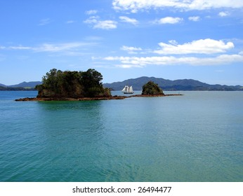 Tall Ship (R. Tucker Thompson) Sailing through the Bay of Islands, New Zealand