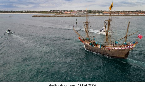 Tall Ship / Square Rigged Sailing Ship - S/V Duyfken escorted into Hillarys Marina, WA by a Volunteer Sea Rescue Vessel and a small flotilla of boats.