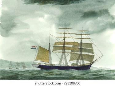 Tall Ship, Watercolor Painting