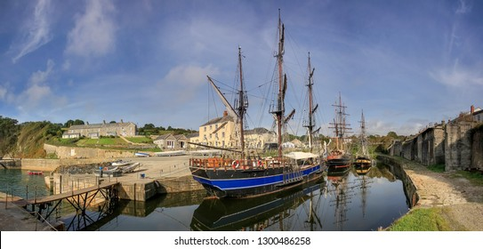Tall Ships in Charlestown Harbour, Cornwall. Location for the filming of the television series Poldark.