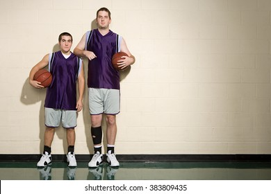 Tall and short basketball players