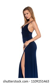 Tall slender blonde in a long blue gown