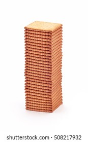 tall stack of biscuit crackers