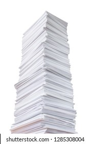 Tall stack of paper isolated on white background