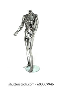 A tall, standing, male chrome colored plastic mannequin or dummy without a head used primarily for merchandising store window displays to market clothes and accessories.