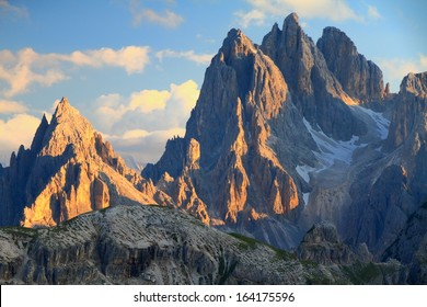 Tall towers of Cadini di Misurina at sunset, Dolomite Alps, Italy