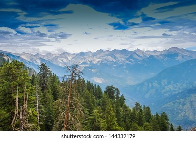 Tall Trees with a view into the distant mountains, taken in the Giant Forest of Sequoia National Park in Tulare County, California. taken in 2007