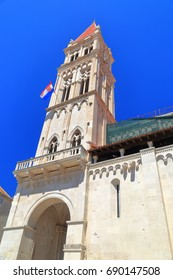 Tall Venetian belfry above St. Lawrence Cathedral in Trogir, Croatia