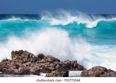 Tall waves at Hookipa in Maui, Hawaii.