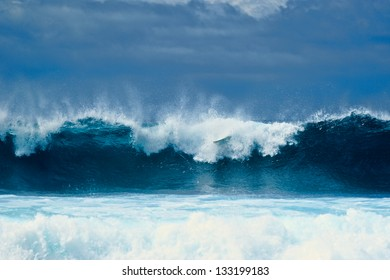 Tall waves on the surface of the ocean