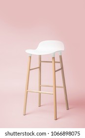 Tall white bar stool Modern designer Bar chair with pastel color background
