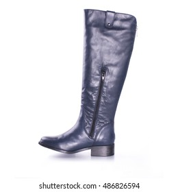 Tall women's autumn winter boots above the knee. They are standing in the studio on a white background. Boots with zippers. Color is blue. The material is leather.