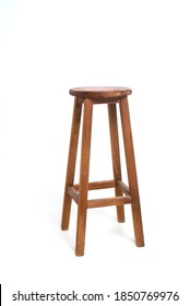 tall wooden bar stool isolated on white background