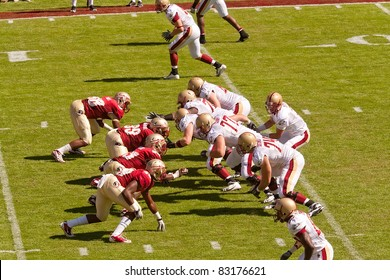 TALLAHASSEE, FL - OCT. 16:  Florida State University players square off against Boston College Eagle players during a football game at Doak Campbell Stadium in Tallahassee, Florida, on Oct. 16, 2010.