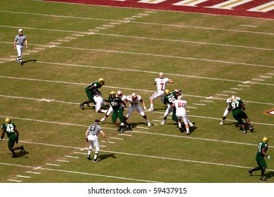 TALLAHASSEE, FL - SEPTEMBER 26:  Seminole QB, Christian Ponder, passes the football to receiver down field.  Sept 26, 2009 Florida State vs South Florida, Doak Campbell Stadium, Tallahassee, Florida.