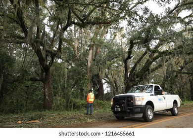 Tallahassee, FL / United States - October 11, 2018. A lineman inspecting power lines in the aftermath of Hurricane Michael. More than half of the city lost power in Tallahassee.