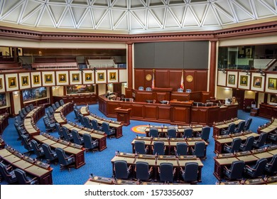 Tallahassee, FL, USA - Feb 15, 2019: The large meeting hall of Senate Chamber in the Old Capital of Florida