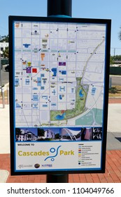 Tallahassee, FL, USA - May 13, 2018: Cascades Park and downtown directional map. Cascades Park map and downtown Tallahassee major landmarks. Helpful guide map to popular downtown places and buildings
