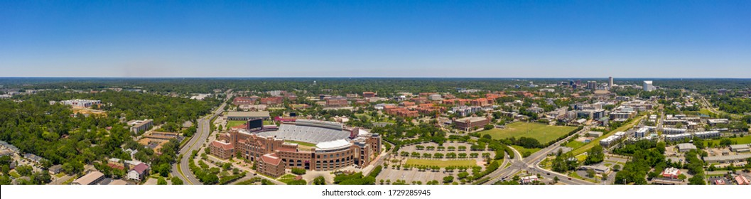 TALLAHASSEE, FL, USA - MAY 5, 2020: Aerial panorama Florida State University FSU and Doak Campbell Stadium