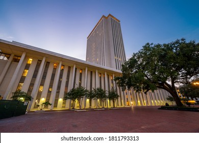 TALLAHASSEE, FL, USA - SEPTEMBER 7, 2020: Architecture Tallahassee FL Florida State Capitol Building at twilight
