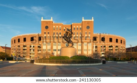 "TALLAHASSEE, FLORIDA - DECEMBER 7: ""Unconquered"" statue in front of Doak Campbell Stadium on the campus of Florida State University on December 7, 2014 in Tallahassee, Florida on December 7, 2014"