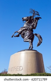TALLAHASSEE, FLORIDA - FEBRUARY 11, 2017: The Unconquered statue is outside Doak S. Campbell Stadium on the campus of Florida State University in Tallahassee, Florida on February 11, 2017.