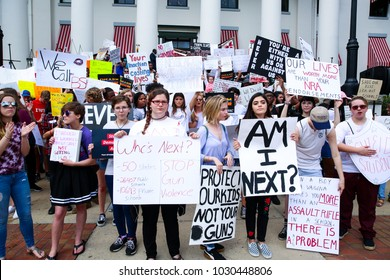 "Tallahassee, Florida / United States - February 21, 2018. Huge crowd participated at ""Never Again"" rally to protest and change gun laws after the shooting at Marjory Stoneman Douglas High School."