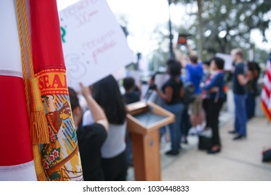 """Tallahassee, Florida / United States - February 21, 2018. Huge crowd participated at """"Never Again"""" rally to protest and change gun laws after the shooting at Marjory Stoneman Douglas High School."""