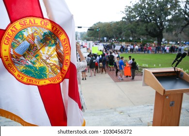 "Tallahassee, Florida / United States - February 21, 2918. Huge crowd participated in ""Never Again"" rally to protest state lawmakers. Students from Stoneman Douglas High School joined the rally also."