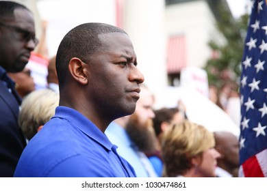 Tallahassee, Florida / United States - February 21, 2018. City Mayor and governor candidate Andrew Gillum is at the state capitol. showing his support to students from Parkland, Douglas High School.