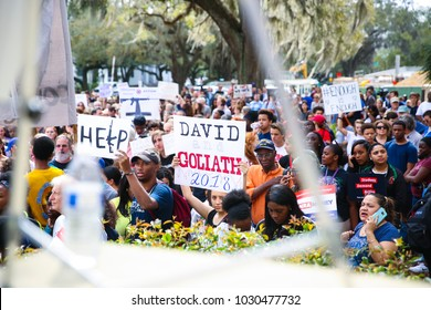 Tallahassee, Florida / United States - February 21, 2018. Large crowd gathered outside the old capitol building to protest current gun laws. Students from Douglas High School in Parkland participated.