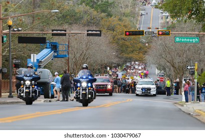 Tallahassee, Florida / United States - February 21, 2018. Tallahassee and Florida State University Police Department working together to make sure students get to the capitol building safely.