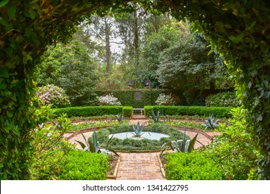 TALLAHASSEE, FLORIDA, USA - MARCH 29, 2016  The secret garden of Killearn Plantation, located within the Alfred B. Maclay State Park is a beautifully designed example of an outdoor room.