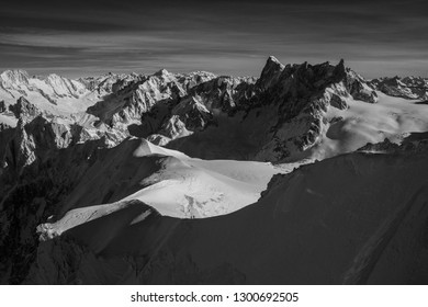 The tallest peaks of the French Alps. These are the views from Aiguille Du Midi in a small commune named Chamonix in France. People  from around the world come here to ski the worlds longest ski run.