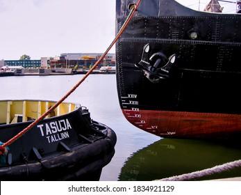 TALLIN, ESTONIA - AUGUST 03, 2003: Boats tied up in the harbor at Tallinn, Estonia.