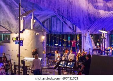 Tallin, Estonia - August, 2017: Flight harbor Lennusadam. An interesting teaching museum for children. Boats, submarines, simulators, games. Tourist facility. Education.