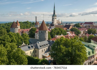 Tallin Estonia panoramic view from St. Olaf's Church tower