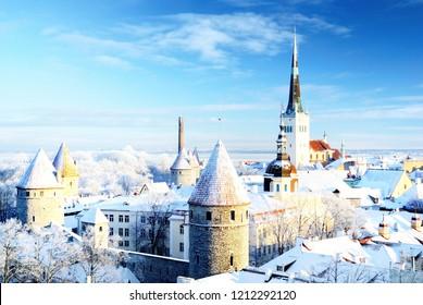Tallinn city. Estonia. Snow on trees in winter, panoram view
