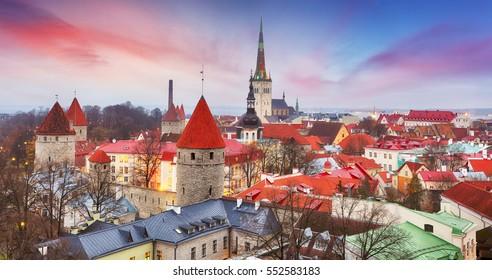 Tallinn city, Estonia at sunrise