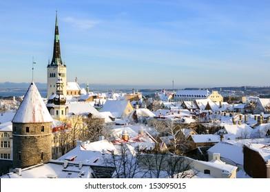 Tallinn city panoramic winter landscape. Estonia