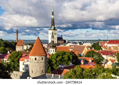 Tallinn city wall and St. Olaf's Church view