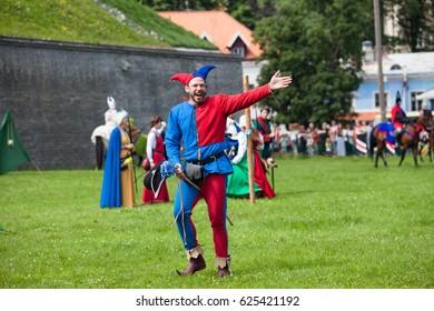 TALLINN, ESTONIA - 01 MAY 2016: Medieval jester runs the event